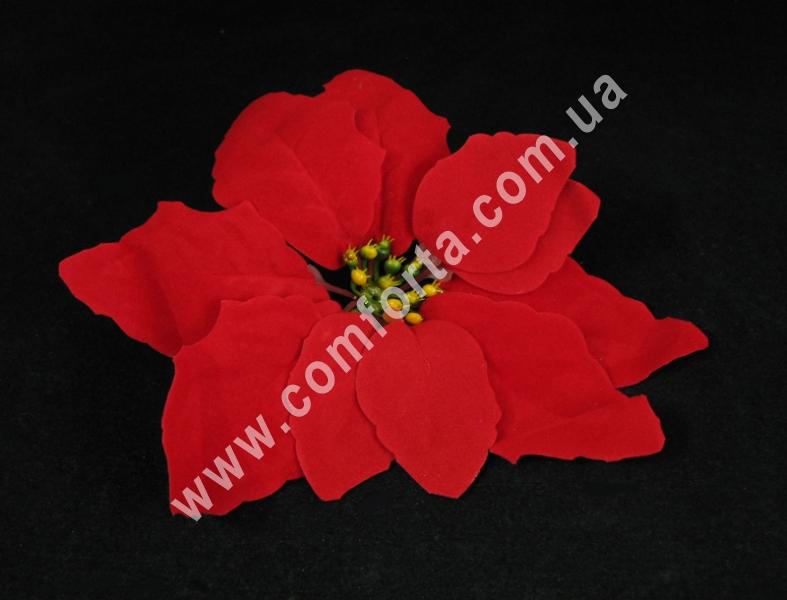 Пуансеттия красная бархатная, диаметр ~ 20 см, цветок искусственный