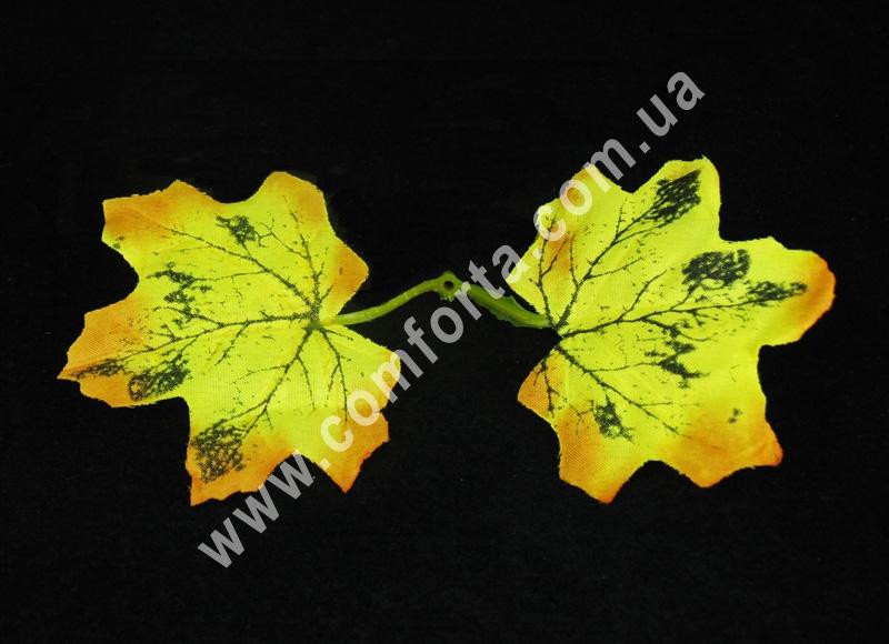 Набор желтых осенних листьев (5 шт), декор искусственный