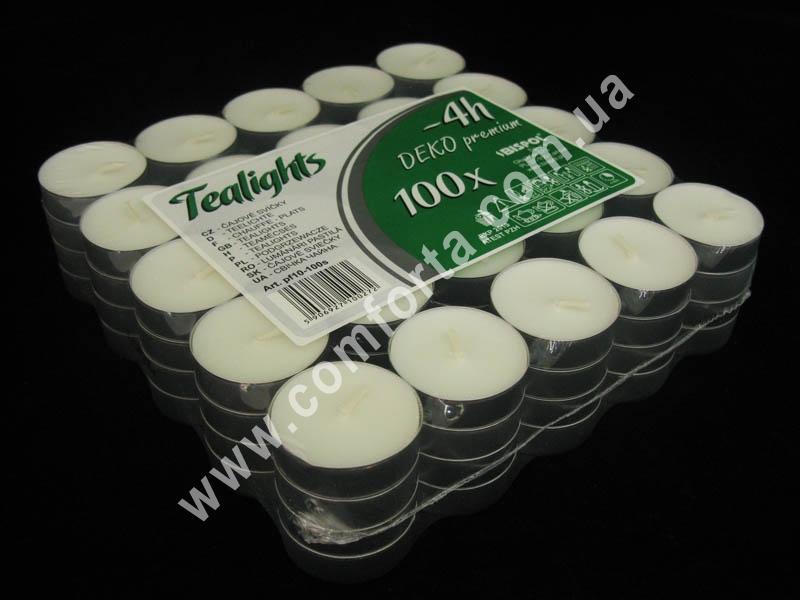 Свечи чайные, упаковка - 100 шт, время горения 1 свечки ~ 4 часа