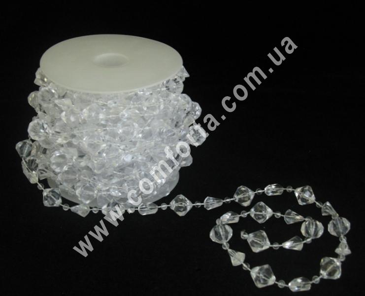 Прозрачные декоративные кристаллы на нити, диаметр 15 мм, 11 мм, 4 мм, бусы декоративные