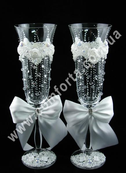 Angela Дождик счастья, лепка, свадебные бокалы (2 шт), высота ~ 25 см, объем ~ 190 мл