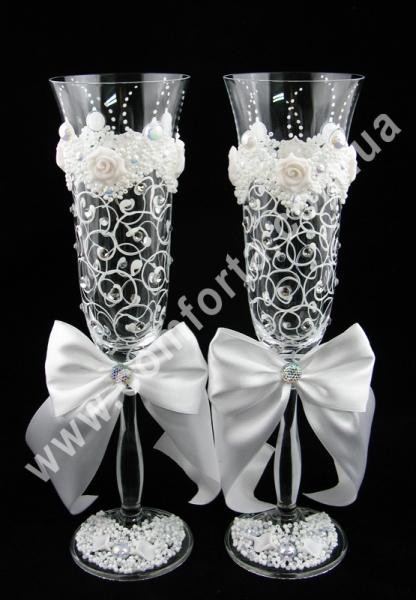Свадебные бокалы белые (2 шт), высота ~ 25 см, объем ~ 190 мл