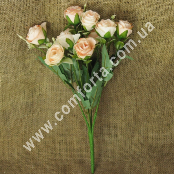 Букет роз нежно-розовый (5 веточек), высота ~ 35 см, цветок искусственный
