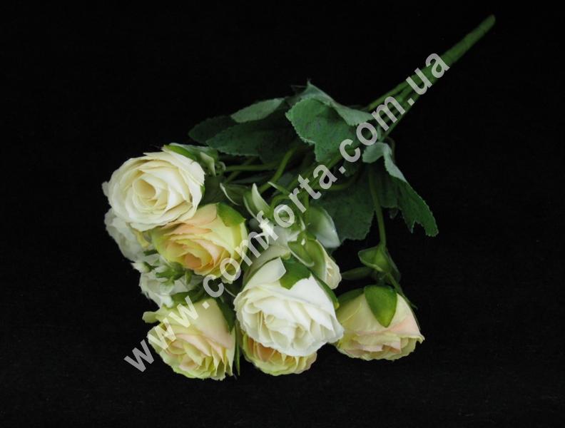Букет роз бело-кремовый (5 веточек), высота ~ 35 см, цветок искусственный