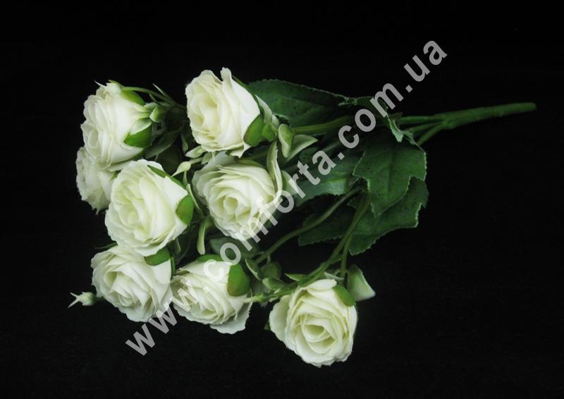 Букет роз белый (5 веточек), высота ~ 35 см, цветок искусственный