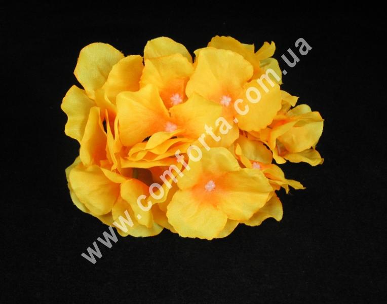 Головка гортензии жёлто-оранжевая, диаметр ~ 17 см, цветок искусственный