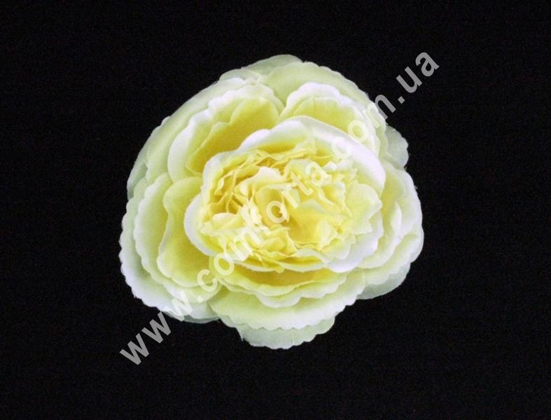 Головка розы пионовидная кремово-персиковая, d-11см, цветок искусственный