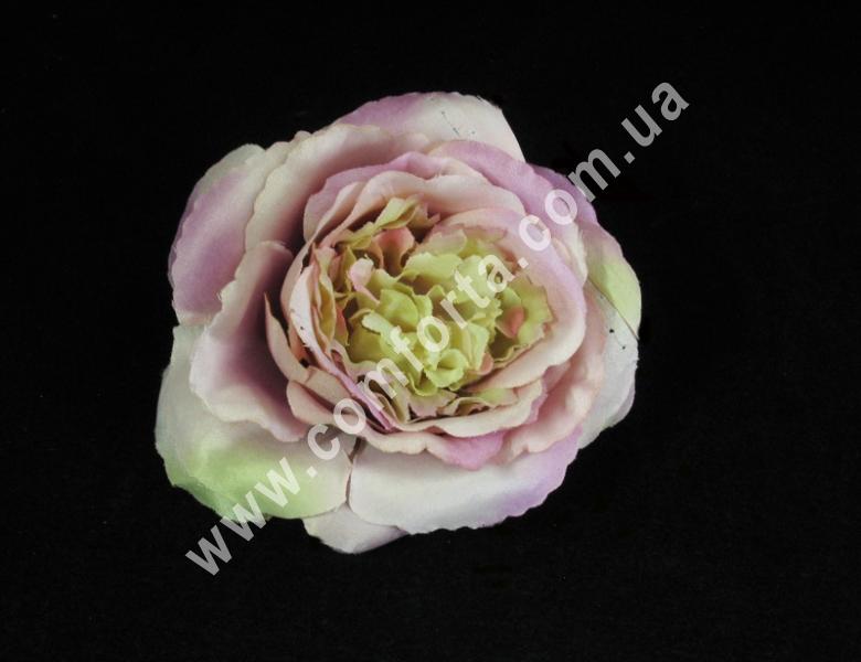 Головка розы пионовидная розово-кремовая, d-11см, цветок искусственный