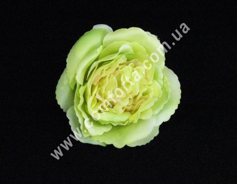 Головка розы пионовидная нежно-зеленая, d-11см, цветок искусственный