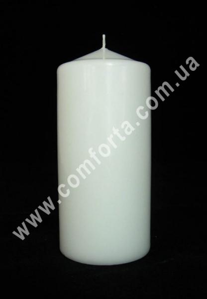 Свеча цилиндр белый, размеры ~ 7 см х 15 см, время горения ~ 66 часов