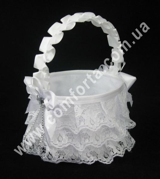 Корзинка для лепестков белая (высота - 27 см, диаметр - 21 см)