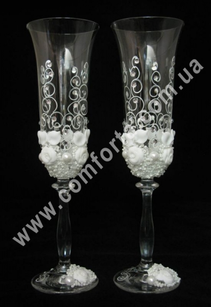 Angela Бутон розы, кристаллы, свадебные бокалы (2 шт), высота ~ 25 см, объем ~ 190 мл