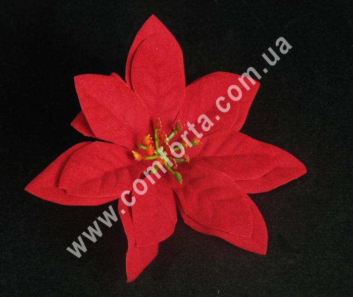 Пуансеттия красная бархатная, диаметр ~ 13 см, цветок искусственный
