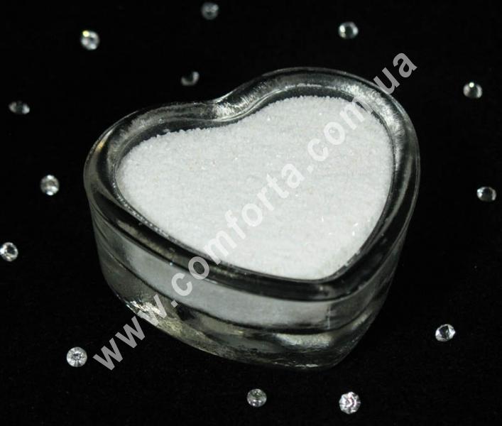 Цветной песок мраморный белый, вес ~ 1 кг, фракция ~ 0,2 - 0,5 мм