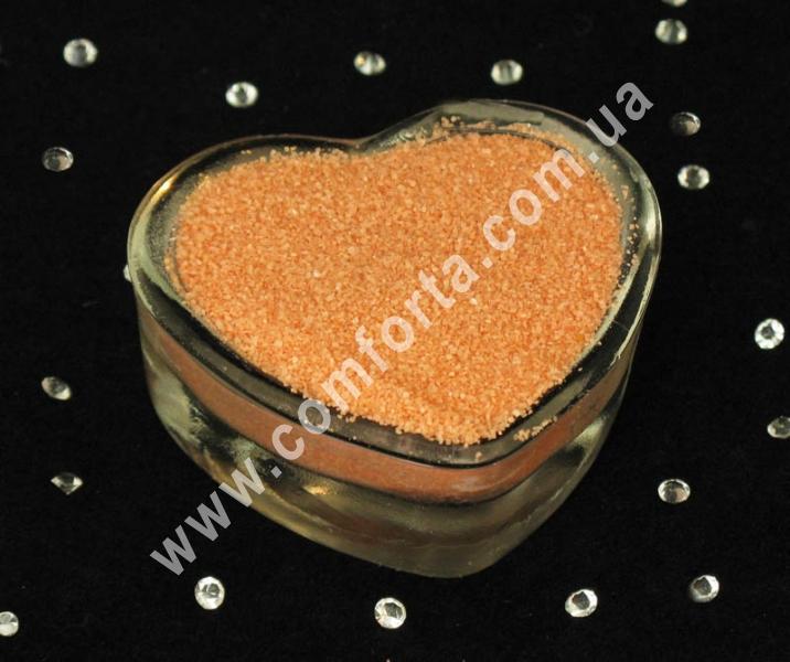 25173200 Цветной песок мраморный персиковый, вес ~ 1 кг, фракция ~ 0,2 - 0,5 мм ― Комфорта - свадебный декор и аксессуары, опт и розница (ru) 25173200_2 www.comforta.com.ua