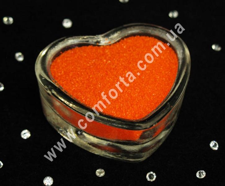 Цветной песок мраморный оранжевый, вес ~ 1 кг, фракция ~ 0,2 - 0,5 мм