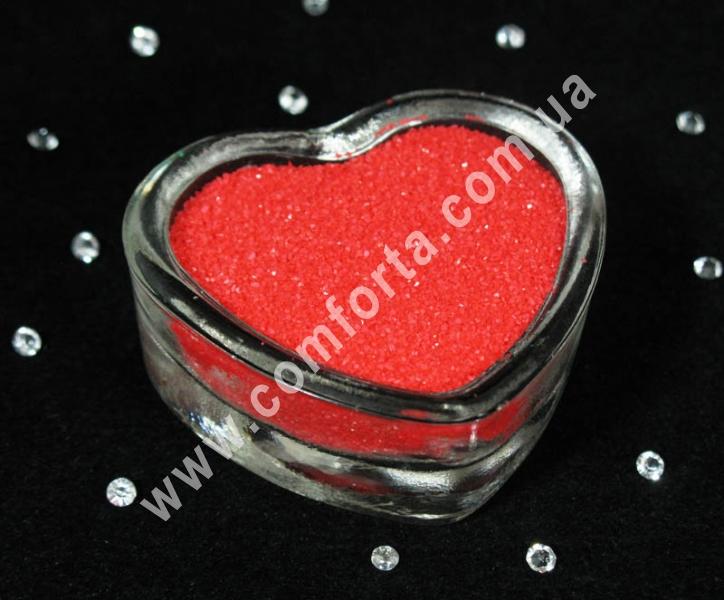 Цветной песок мраморный красный алый, вес ~ 1 кг, фракция ~ 0,2 - 0,5 мм