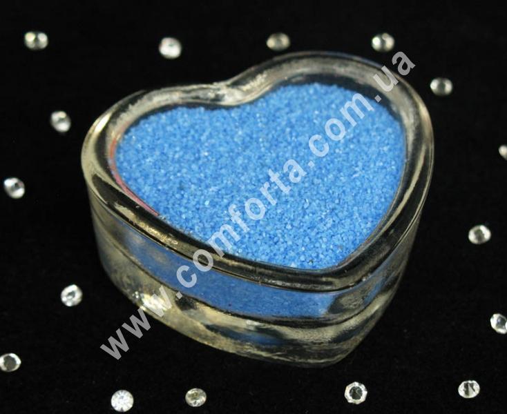Цветной песок мраморный голубой, вес ~ 1 кг, фракция ~ 0,2 - 0,5 мм