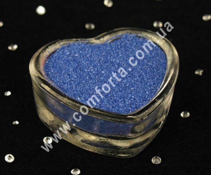 Цветной песок мраморный синий, вес ~ 1 кг, фракция ~ 0,2 - 0,5 мм