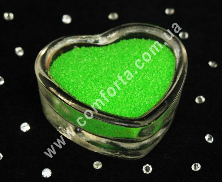 Цветной песок мраморный салатовый, вес ~ 1 кг, фракция ~ 0,2 - 0,5 мм