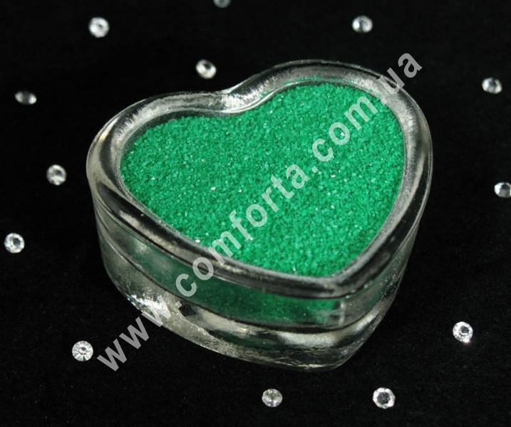 Цветной песок мраморный зеленый, вес ~ 1 кг, фракция ~ 0,2 - 0,5 мм