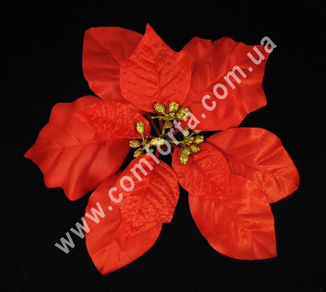 головка пуансеттии красная, искусственная, диаметр - 20 см, материал - ткань
