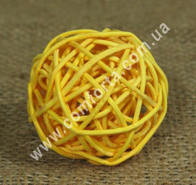 шарик из ротанга, диаметр - 5 см, цвет - светло-оранжевый