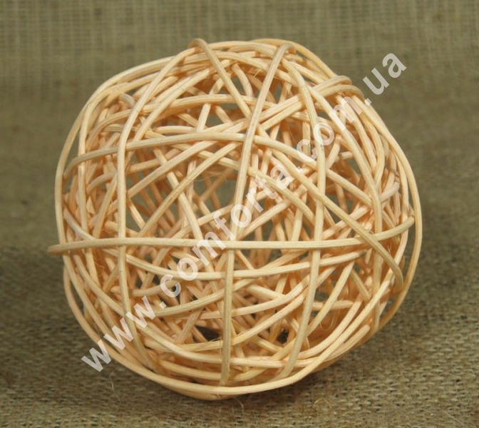 шарик из ротанга, диаметр - 10 см, цвет - персиковый