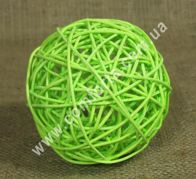 шарик из ротанга, диаметр - 10 см, цвет - салатовый