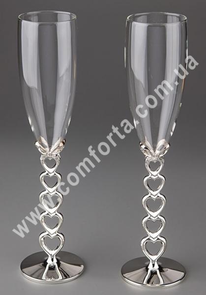 свадебные бокалы на металлической ножке, высота - 25,5 см, диаметр - 6,5 см, материал -стекло, металл