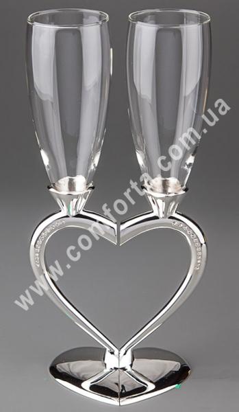 свадебные бокалы на металлической ножке, высота - 26 см, диаметр - 12,5 см, материал -стекло, металл
