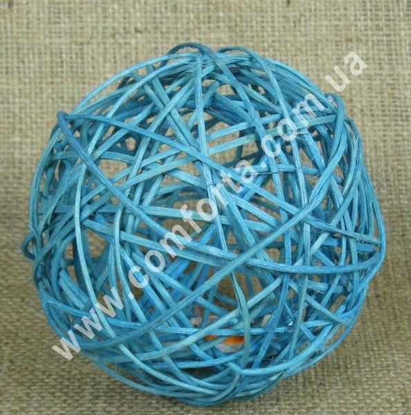 шарик из ротанга, диаметр - 13 см, цвет - голубой