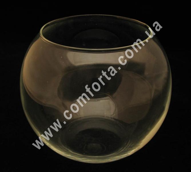 стеклянная ваза в форме шара, высота - 16 см, диаметр - 19 см