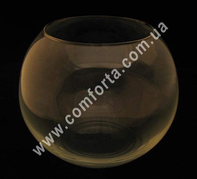 стеклянная ваза в форме шара, высота - 21 см, диаметр - 25 см
