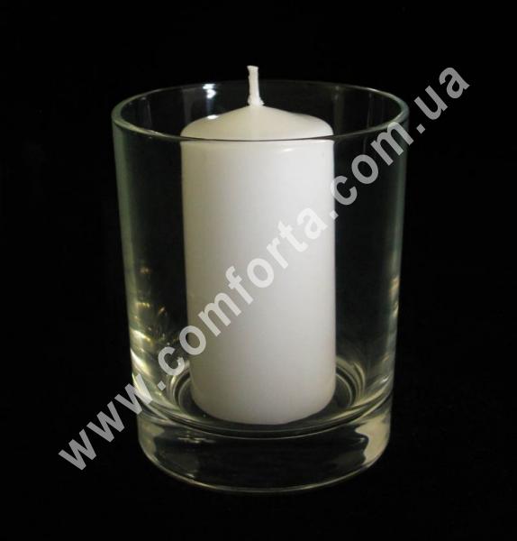 подсвечник стеклянный в форме стакана, высота - 9 см, диаметр - 7,5 см