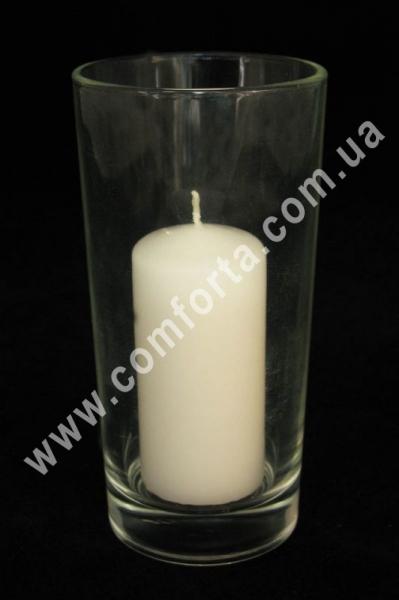 стеклянный подсвечник в форме сткана, высота ~ 14 см, диаметр ~ 7 см