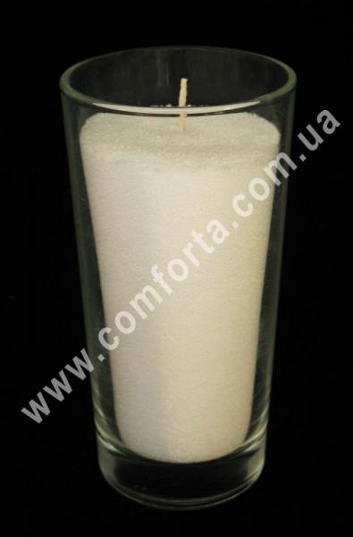 подсвечник стеклянный в форме стакана, высота - 14 см, диаметр - 7 см