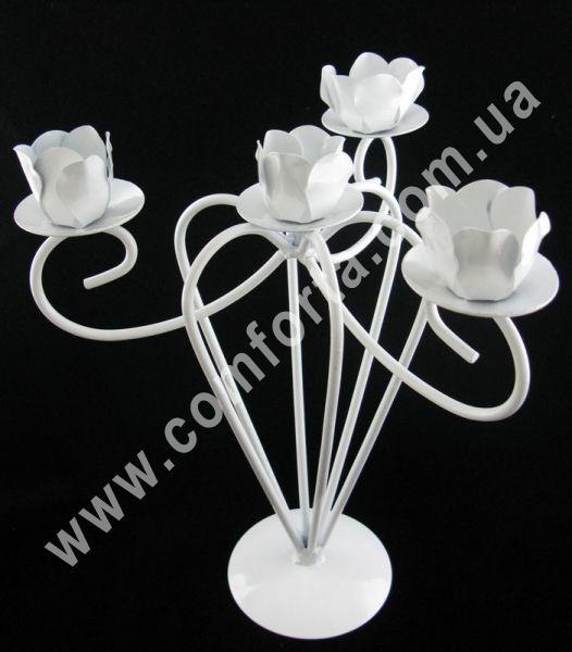 свадебный металлический подсвечник, высота - 27 см, ширина - 23 см