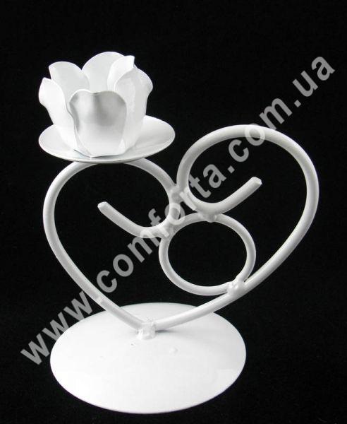 декоративный подсвечник белого цвета для одной свечи, высота 13 см