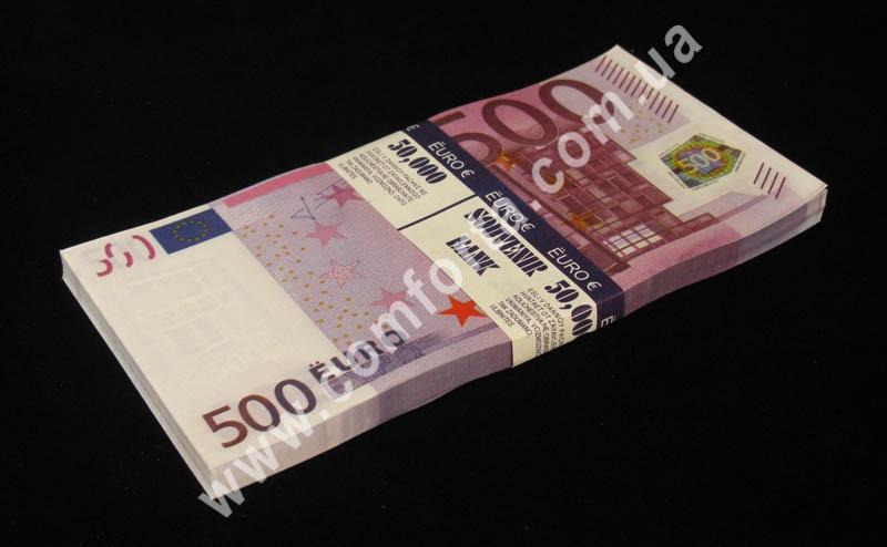сувенирные 500 евро, в упаковке - 80 купюр, материал - бумага
