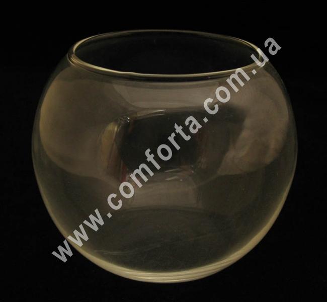 стеклянная ваза в форме шара, высота - 12 см, диаметр - 15 см