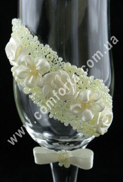свадебные бокалы с текстильными украшениями