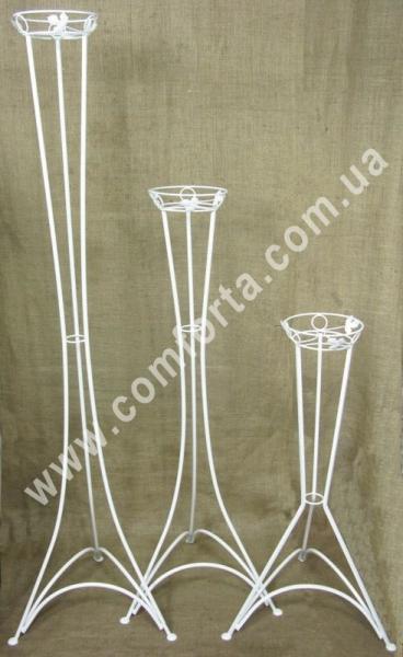 свадебная стойка для цветочных композиций, высота - 130 см, диаметр блюдца - 21 см, материал - металл