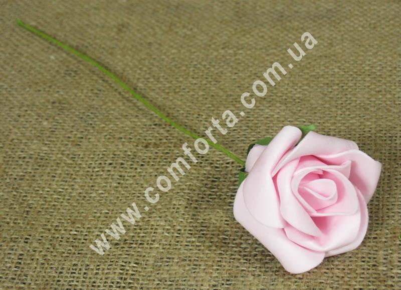 Роза нежно-розовая из латекса, высота - 25 см