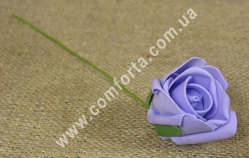 Роза сиреневая из латекса, высота - 25 см