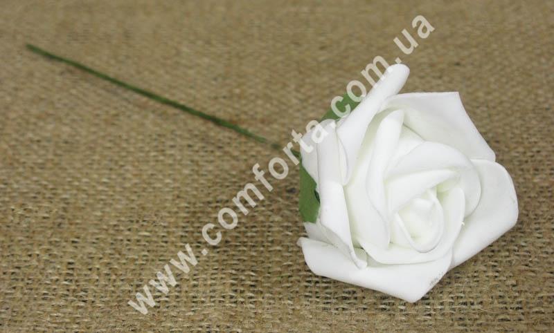 Роза белая из латекса, высота - 20 см