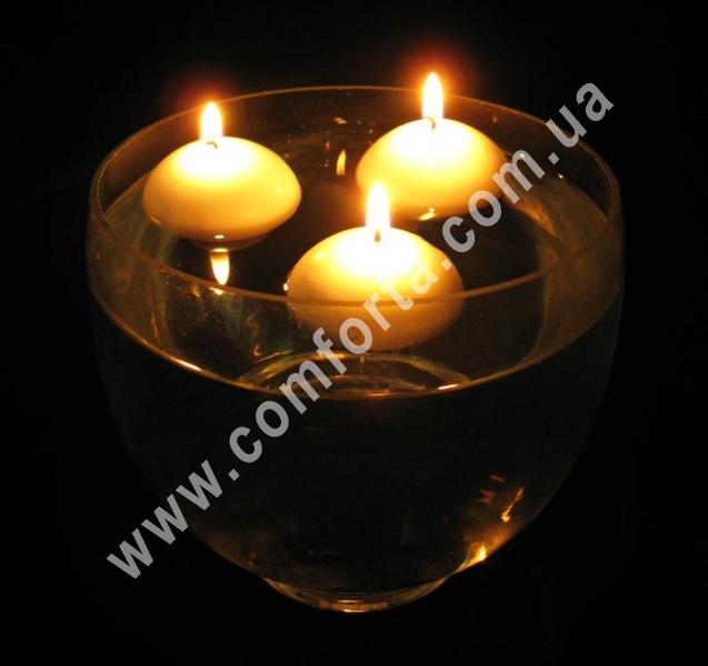 плавающая свеча, упаковка - 20 шт, высота - 3 см, диаметр - 4,5 см