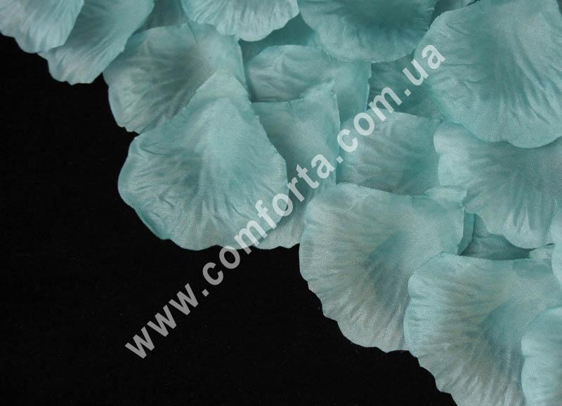 искусственные лепестки роз бирюзовые, 100 шт, 14 гр, материал - ткань
