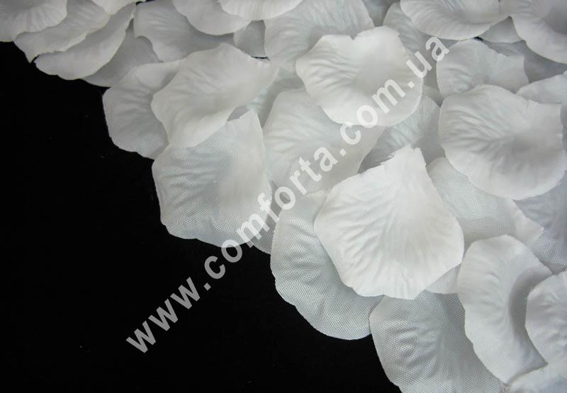 искусственные лепестки роз белые, 100 шт, 14 гр, материал - ткань