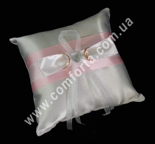 свадебная подушечка для обручальных колец, высота - 16 см, ширина - 16 см, материал - атлас, розовая